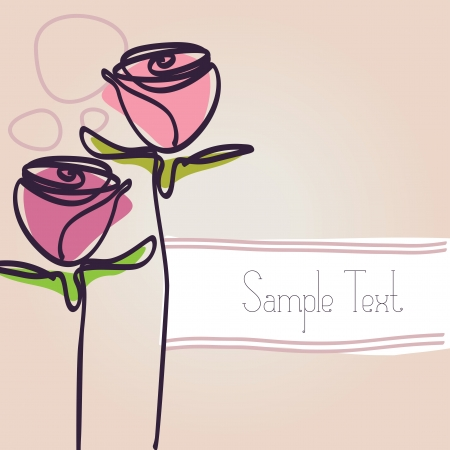 two hand drawn rose illustrations and a copy space for your text Vector