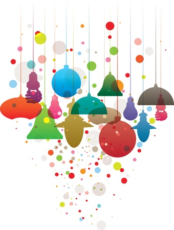 christmas savings: Colorful illustration with various suspended illumination equipment with bubbles Illustration