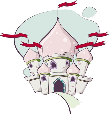 chateau: Detailed and colorful illustration of a fairy tale castle