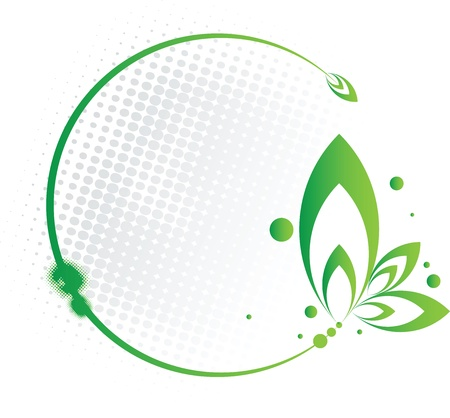 leaf logo: Abstract green frame in circular floral form
