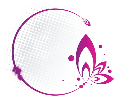 Abstract purple frame in circular floral form Vector