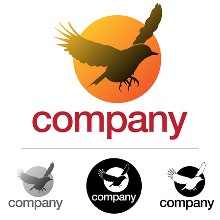 corporate emblem or icon design with a flying bird silhouette Vector