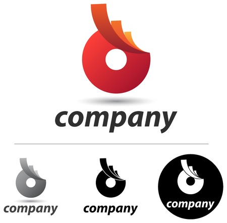 movement: Corporate logo or icon design with an abstract red form