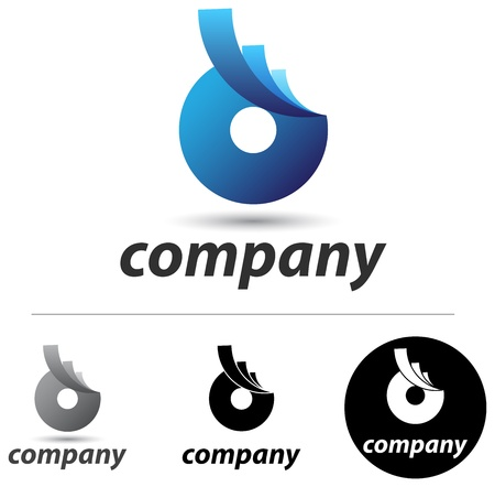 disk: Corporate logo or icon design with an abstract blue form