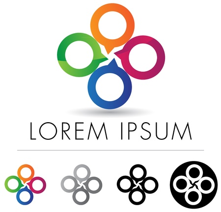 logo circle: Abstract corporate emblem or icon design with four speech bubble elements