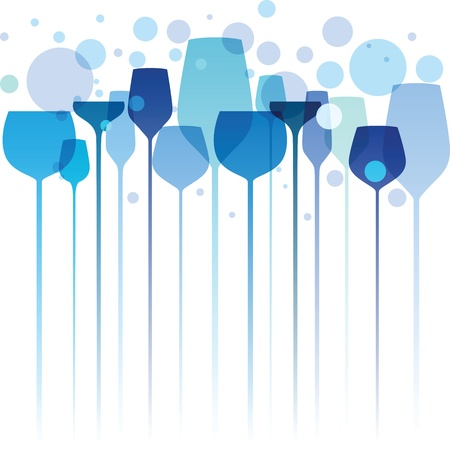 A beautiful composition of alcohol drink glasses in shades of blue and turquoise