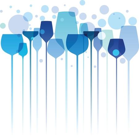 alcool: Une belle composition de lunettes de boire de l'alcool dans les tons de bleu et de turquoise Illustration