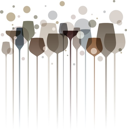 A beautiful composition of alcohol drink glasses in shades of gray and brown Vector