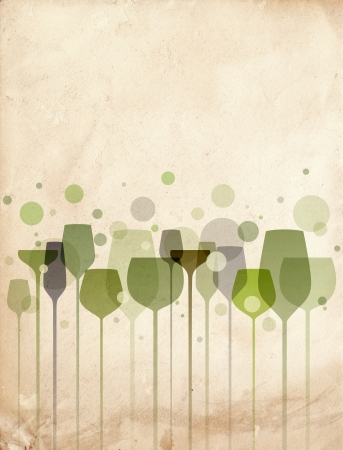 banqueting: A beautiful composition of alcohol drink glasses on old paper background