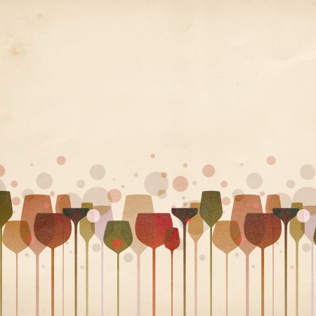 blush: A beautiful composition of alcohol drink glasses on old paper background