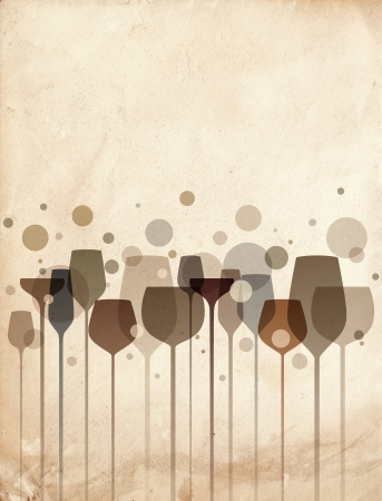 meny: En vacker komposition av alkohol dryck glasögon på gamla papper bakgrund