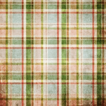Square grunge texture with colorful tartan pattern photo