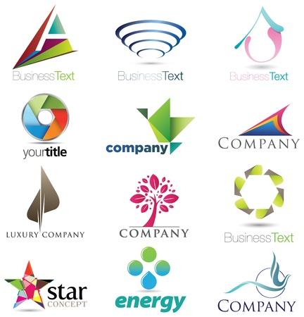 logotipo abstracto: Doce piezas de elementos de dise�o moderno, fuerte y elegante e iconos