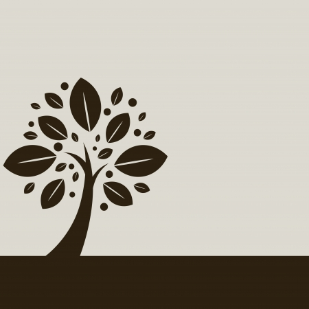 abstract design elements: Single tree illustration on beige background