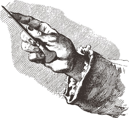 Old engraving image of a hand holding a tool Vector