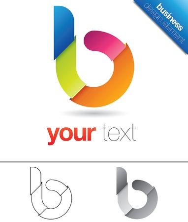 Modern vector design element with the letter b in lower case, folded colorful paper concept Stock Vector - 17290098