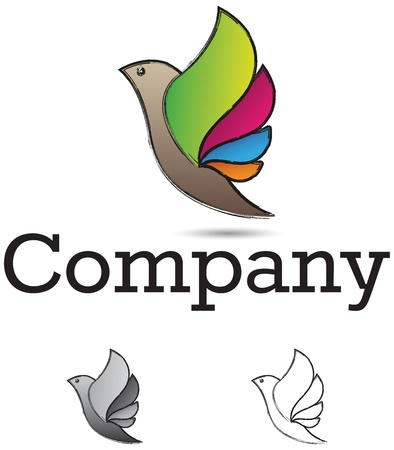 Corporate identity logo, bird with colorful wings, monochrome versions included Vector