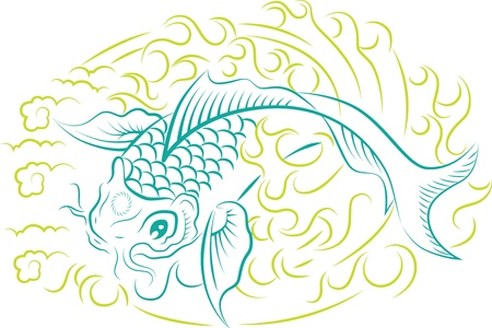 Vecteur d'ornement magnifique avec des poissons de koi, art traditionnel japonais