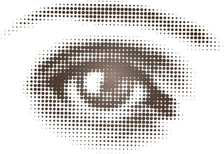 globo ocular: Arte del vector aislada de un solo ojo en el patr�n de medios tonos