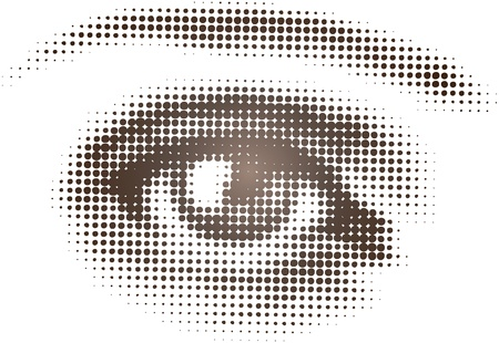 halftone dots: Isolated vector art of single eye in halftone pattern Illustration