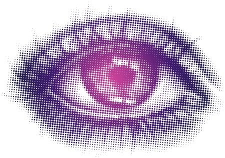eyelid: Isolated vector art of single eye in halftone pattern Illustration