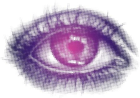 eyesight: Isolated vector art of single eye in halftone pattern Illustration