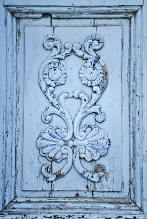 Image of floral ornament with frame, a detail from a traditional Tunisian door Stock Photo - 17375434