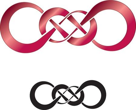 infinito simbolo: Disegno astratto di doppio infinito, perfetto come un tatuaggio Vettoriali