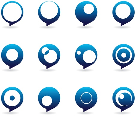 Collection of abstract and styized speech bubble icons in different forms Vector