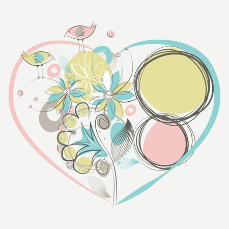 Two love birds and floral composition in a heart shape Vector