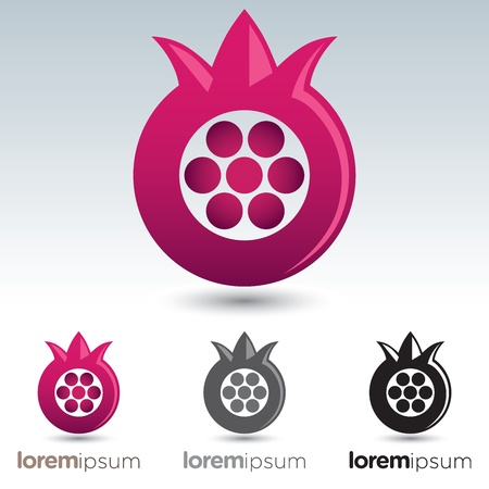 greyscale: Abstract and stylized pomegranate icon with options to use with text Illustration