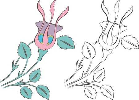 Turkish-Ottoman style rosebud design, stylized as tulips, colored and outline