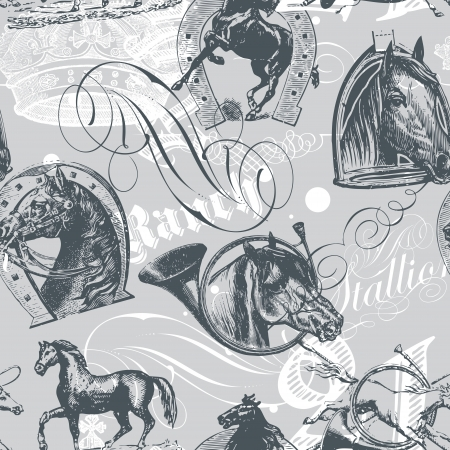 old horse:  seamless pattern design with old etching horses and calligraphic ornaments Illustration