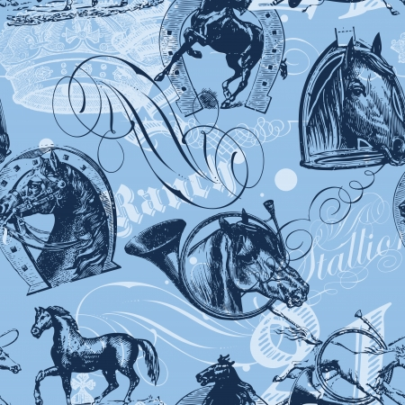 seamless pattern design with old etching horses and calligraphic ornaments Stock Vector - 17680523