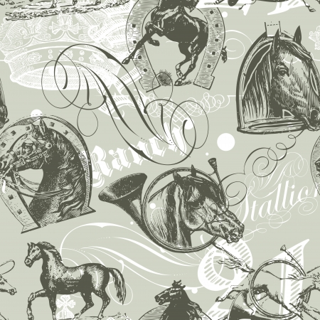 seamless pattern design with old etching horses and calligraphic ornaments Stock Vector - 17680520