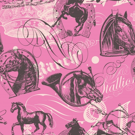 seamless pattern design with old etching horses and calligraphic ornaments Vector