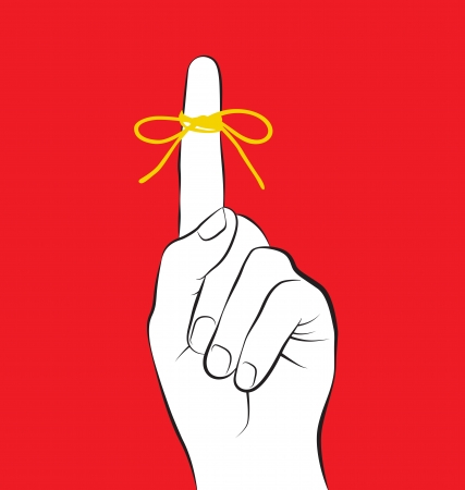 not to forget: Illustration of hand gesture that means do not forget or remember, a piece of rope tied around the index finger