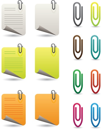 icons of colorful paperclips and notepapers Vector