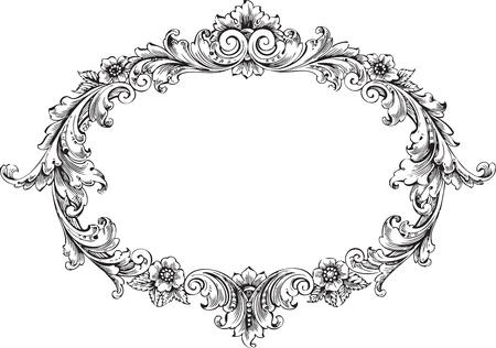 baroque: arte del marco victoriano aislado en blanco Vectores
