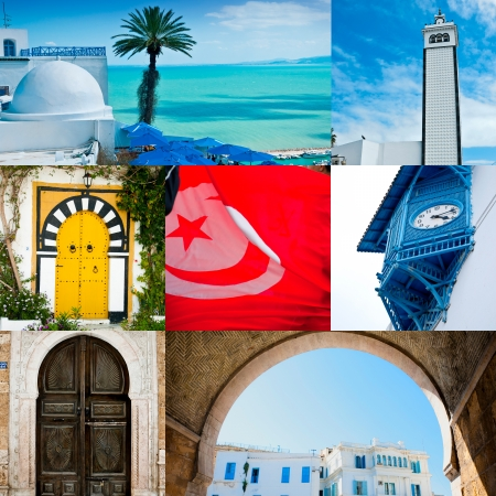 Collage avec de beaux clich�s de ville de Tunis, la capitale de la Tunisie photo