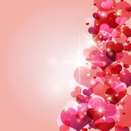 Beautiful background design with hearts and light effects Stock Vector - 17857452