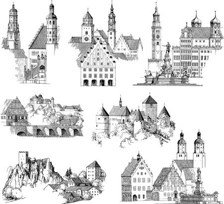 Dibujo o grabado colección de edificios medievales y paisajes urbanos Ilustración de vector