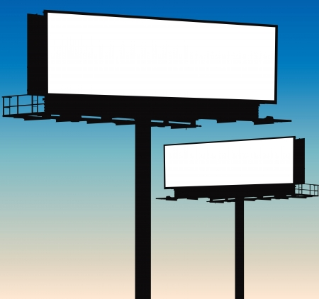 Two blank billboard silhouettes on evening sky background Stock Vector - 18397095