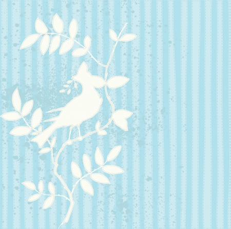 aqua flowers: Romantic background design with hand made looking bird illustration and stitches