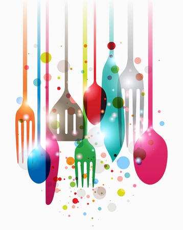 Colorful composition of kitchen equipments and utensils with dots and lights