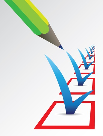 Conceptual vector illustration with pencil selecting the check boxes with blue tick signs Vector