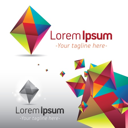 prisma: Icono abstracto y plantilla de fondo con forma de prisma triangular de colores Vectores