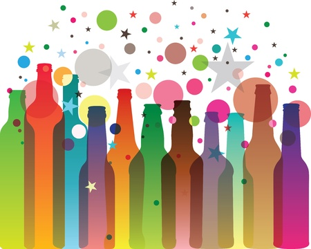 Bottles silhouettes in vivid colors Vector