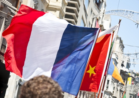 French and Chinese flags photo