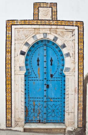 tunisian: Traditional Tunisian door Stock Photo
